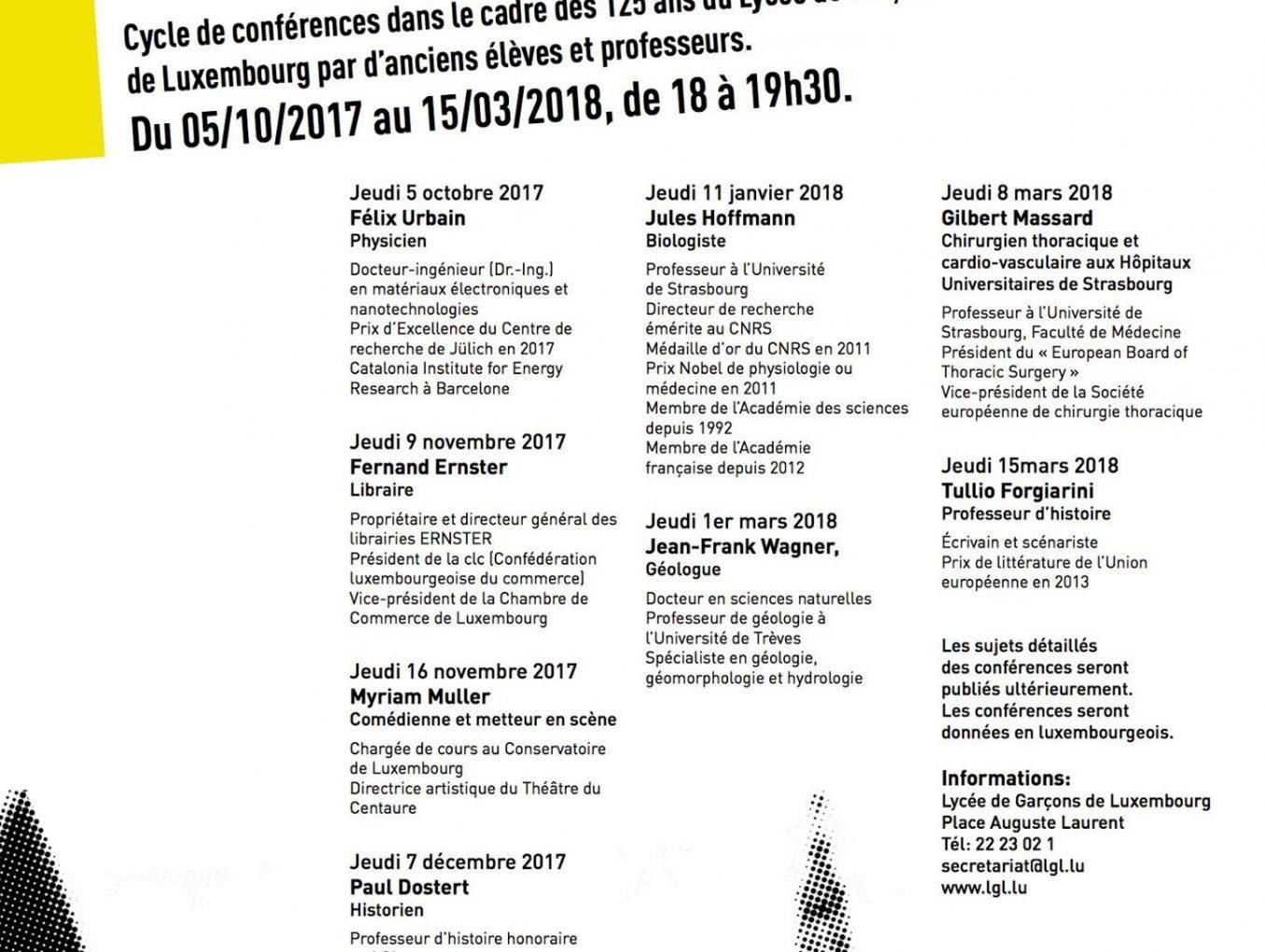 Cycle de conférences 125 ans LGL -  Les Glorieux Lycéens