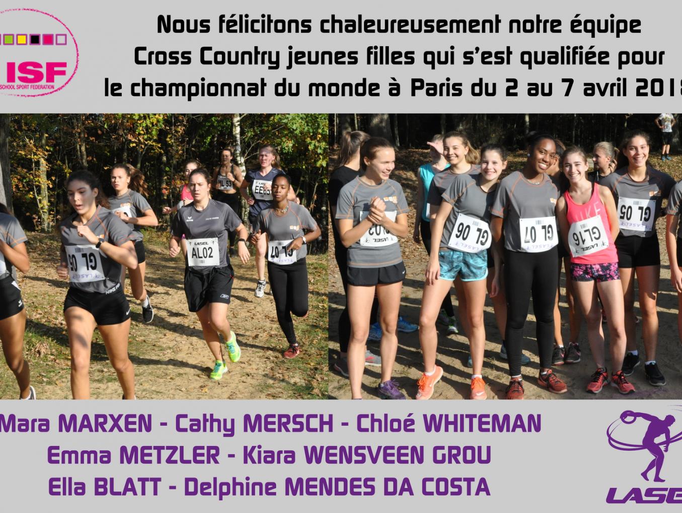 LASEL - L'équipe Cross Country des jeunes filles du LGL se qualifie pour le championnat ISF à Paris