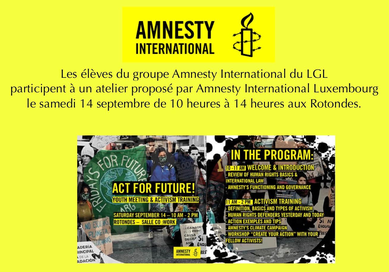 De Grupp Amnesty International vum LGL feiert seng Rentrée