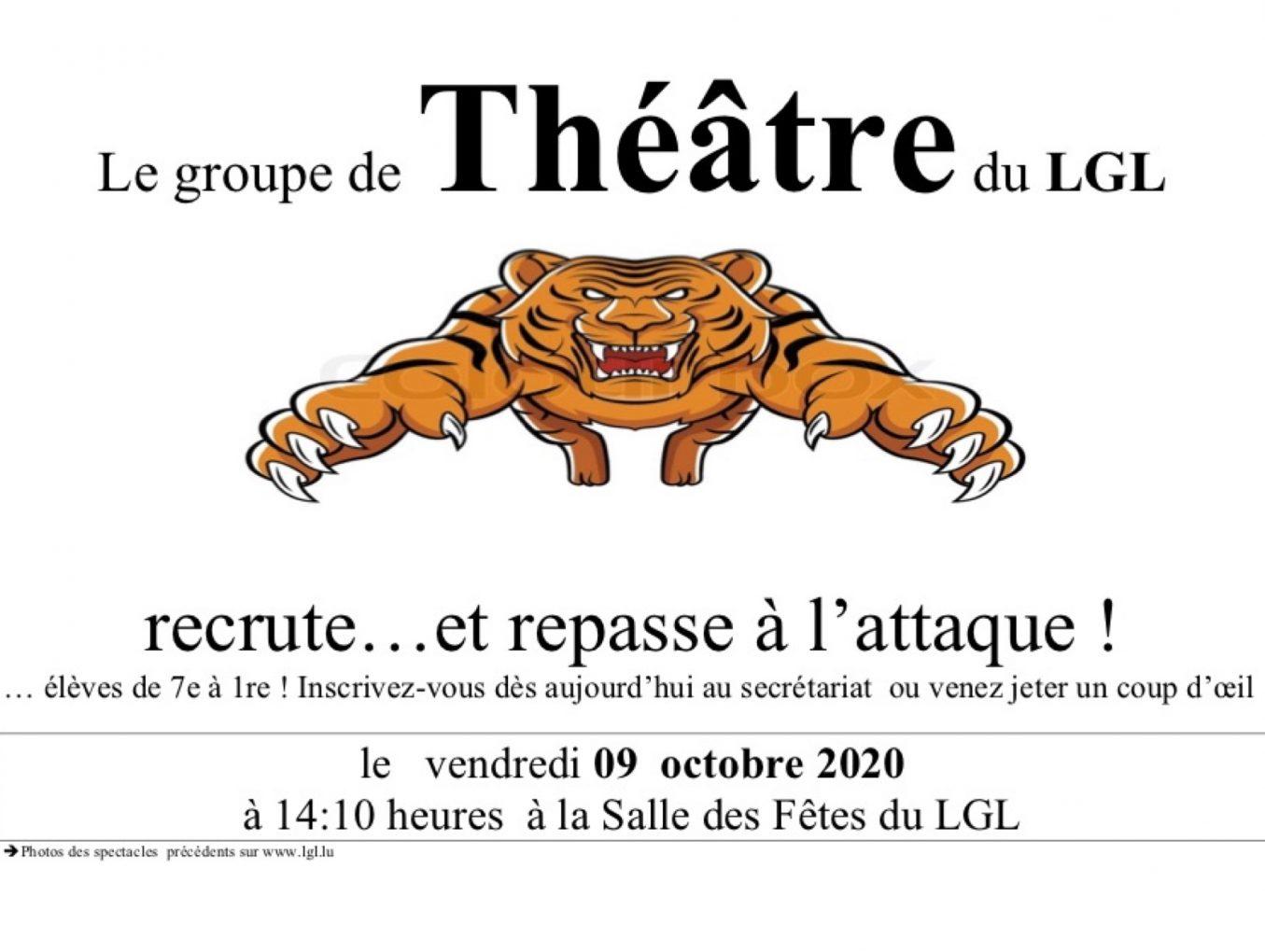 Groupe de Théâtre du LGL. Rentrée le 09 Octobre!