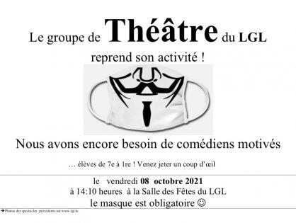 Le Groupe de Théâtre du LGL reprend le vendredi 8 octobre